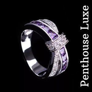 Sterling Silver 925 Amethyst Criss Cross Bow Ring